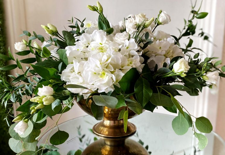 Green and White Low Floral Display
