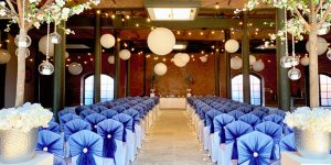 Event Venue Dressed in Navy & Pearl Wedding Theme