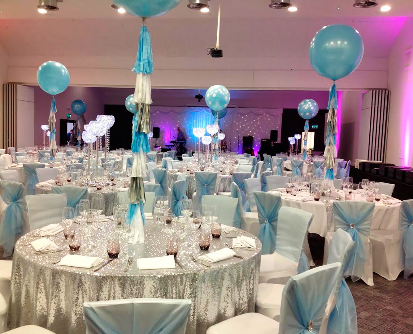 Silver, White and Baby Blue Tassel Balloon Strings for Christening at Titanic Hotel, Liverpool